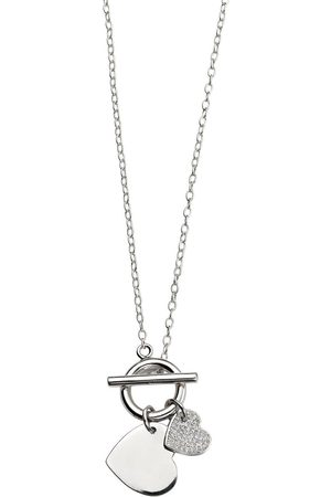 The Love Silver Collection Sterling Silver T Bar Double Heart Necklace