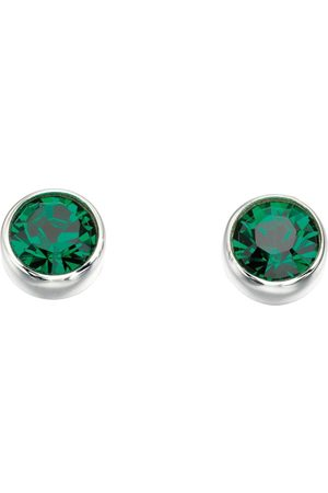 The Love Silver Collection Sterling Silver Swarovski Emerald Stud Earrings