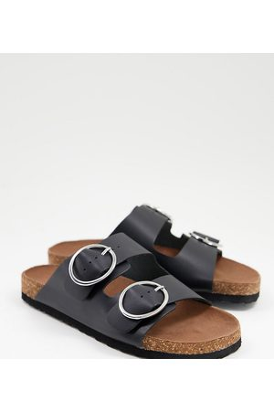 Simply Be Wide fit flat sandal with buckle detail in