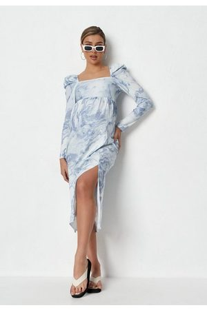 Missguided Women Skirts - Blue Marble Print Puff Sleeve Maternity Midaxi Dress