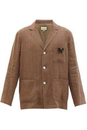 Gucci Single-breasted Pin-embellished Check Linen Blazer - Mens
