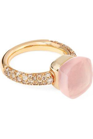 Pomellato Women Rings - White Gold, Rose Gold, Diamond and Rose Quartz Nudo Ring