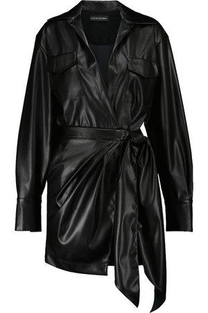 DAVID KOMA Faux leather shirt dress