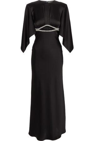 DAVID KOMA Crystal-embellished satin gown