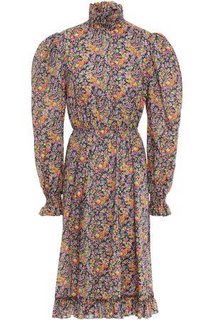 Serafini Woman Ruffle-trimmed Floral-print Cotton-poplin Dress Dark Gray Size 40