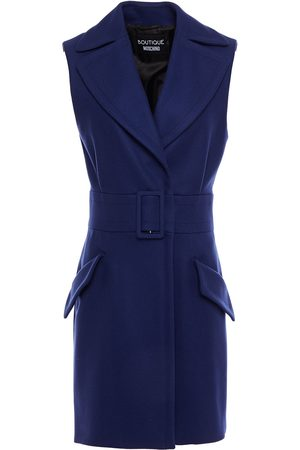 BOUTIQUE MOSCHINO Woman Belted Pleated Wool-blend Brushed-felt Vest Indigo Size 40