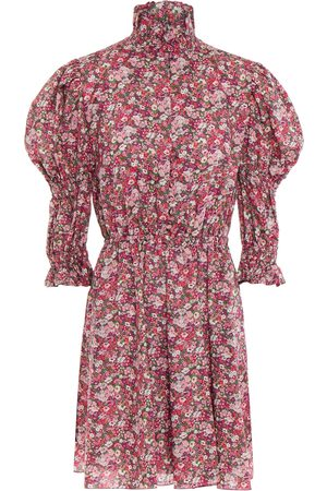 Serafini Woman Gathered Floral-print Cotton-voile Mini Dress Baby Size 40