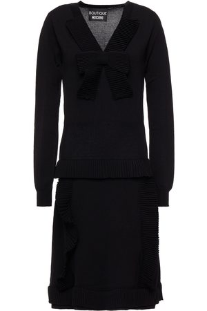 Moschino Woman Ruffle-trimmed Bow-embellished Knitted Dress Size 40