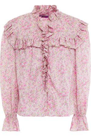 PHILOSOPHY DI LORENZO SERAFINI Woman Ruffled Floral-print Cotton-poplin Blouse Baby Size 40