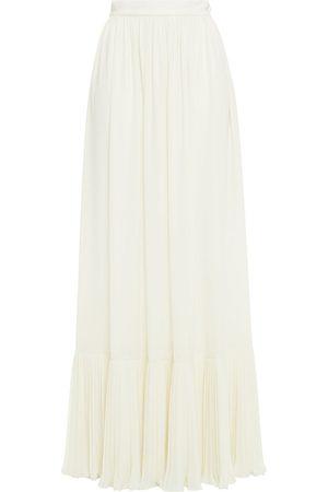 Serafini Woman Gathered Crepe Maxi Skirt Ivory Size 40