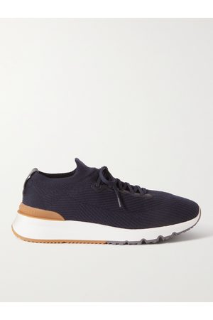 Brunello Cucinelli Men Trainers - Leather-Trimmed Stretch-Knit Sneakers