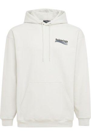 Balenciaga Men Sweatshirts - Embroidered Cotton Hoodie