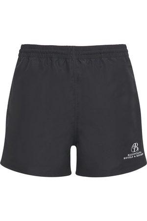Balenciaga Men Swim Shorts - Logo Embroidery Nylon Swim Shorts
