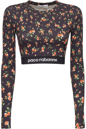 Paco rabanne Stretch Jersey Printed Logo Top