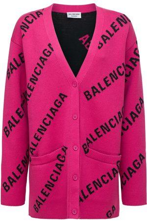 Balenciaga Logo Cotton Blend Knit Cardigan