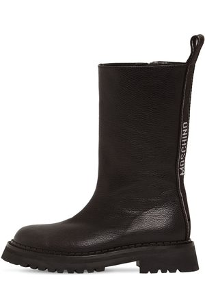 Moschino 50mm Grained Leather Biker Boots