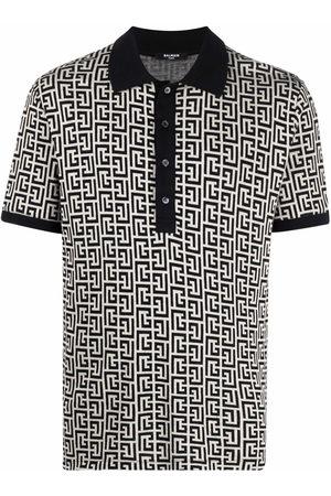 Balmain Monogram-pattern polo shirt - Neutrals