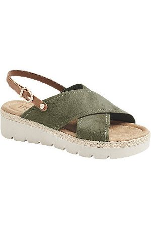 Esprit Women Sandals - Khaki Cross Strap Sandals