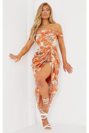 PRETTYLITTLETHING Rust Floral Print Satin Draped Bardot Midi Dress