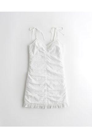 Hollister Ruched Ruffle-Hem Mini Dress