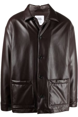 Opening Ceremony Men Leather Jackets - Long-sleeve button-up jacket