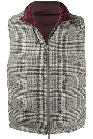 Brunello Cucinelli Men Body Warmers - Reversible checked padded gilet