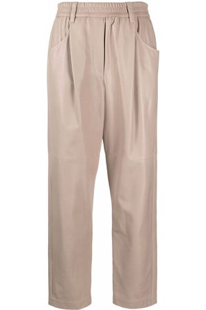 Brunello Cucinelli Women Leather Trousers - Straight-leg leather trousers - Neutrals