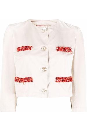 A.N.G.E.L.O. Vintage Cult Women Jackets - 1990s bead-embellished cropped jacket - Neutrals