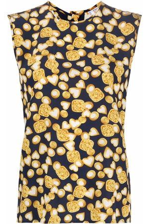 Yves Saint Laurent 1980s heart print silk top