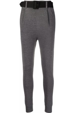 Self-Portrait Belted tailored-style leggings