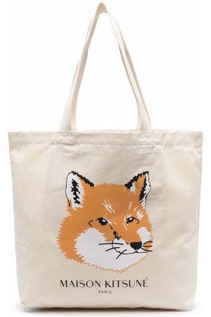 Maison Kitsuné Fox-print tote - Neutrals