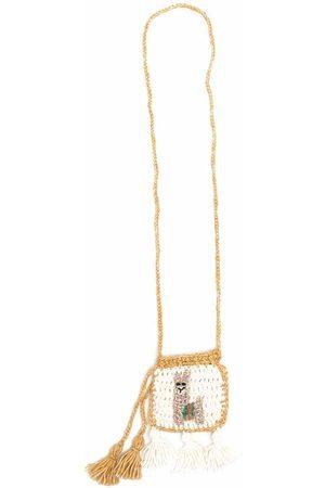 Alanui Knitted tassel-detail purse - Neutrals