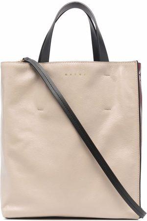 Marni Women Handbags - Colourblock leather tote bag - Neutrals