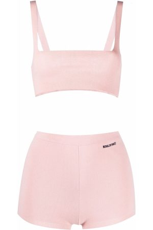 RED Valentino Women Crop Tops - Knitted crop top and shorts set