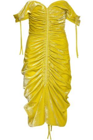 Bottega Veneta Draped Stretch Velvet Midi Dress