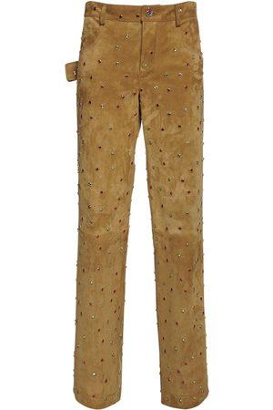 Bottega Veneta Women Trousers - Multi Color Embellished Ed Suede Pants