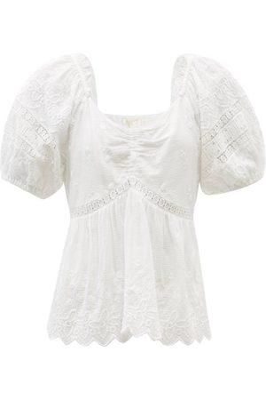 LOVESHACKFANCY Women Tops - Prezia Lace-trimmed Cotton-voile Top - Womens