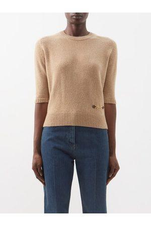 Gucci Women Jumpers - Horsebit Cashmere Sweater - Womens - Camel