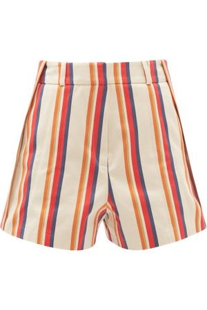 Paco rabanne High-rise Jacquard-stripe Cotton-twill Shorts - Womens - Multi