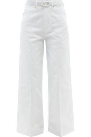 VALENTINO Women Wide Leg Trousers - Belted Wide-leg Jeans - Womens