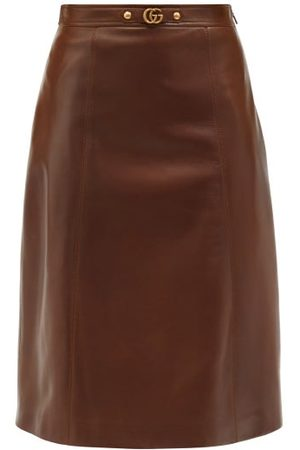 Gucci Women Leather Skirts - GG-plaque Leather Midi Skirt - Womens - Multi