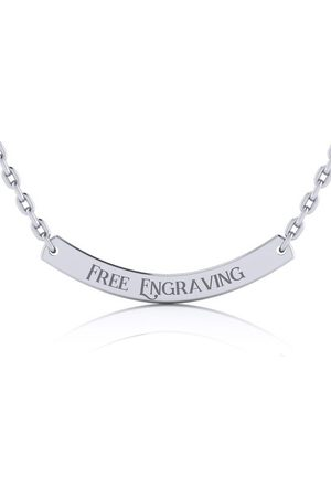SuperJeweler Sterling Curved Bar Necklace w/ Free Custom Engraving, 18 Inches