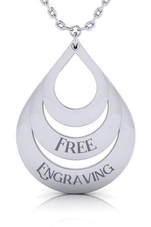 SuperJeweler Sterling Triple Teardrop Necklace w/ Free Custom Engraving, 18 Inches