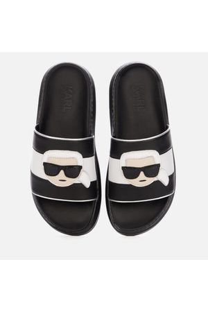 Karl Lagerfeld Women's Kapri Ikonic Leather Flatform Slide Sandals