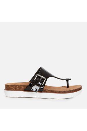Clarks Women's Elayne Step Patent Leather Toe Post Sandals