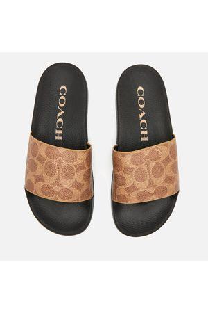 Coach Women's Udele Coated Canvas Slide Sandals