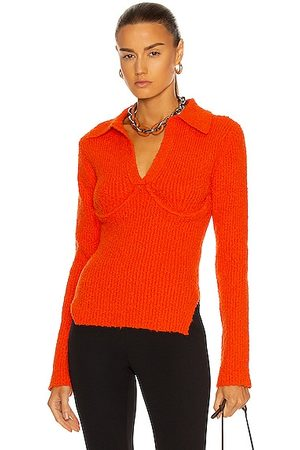 Helmut Lang Long Sleeve Polo Top in Flare