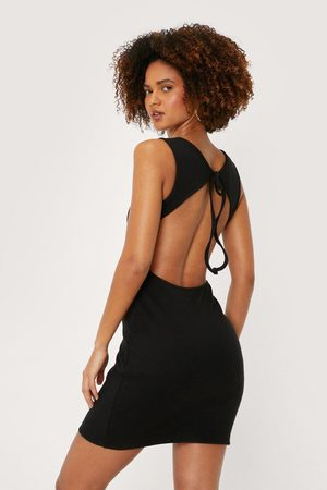 NASTY GAL Womens Cut Out Ribbed Bodycon Mini Dress