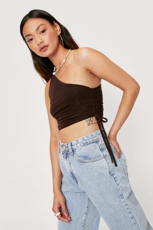 Nasty Gal Womens Petite Strappy One Shoulder Slinky Ruched Top
