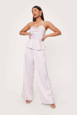 NASTY GAL Womens Satin Tailored Wide Leg trousers
